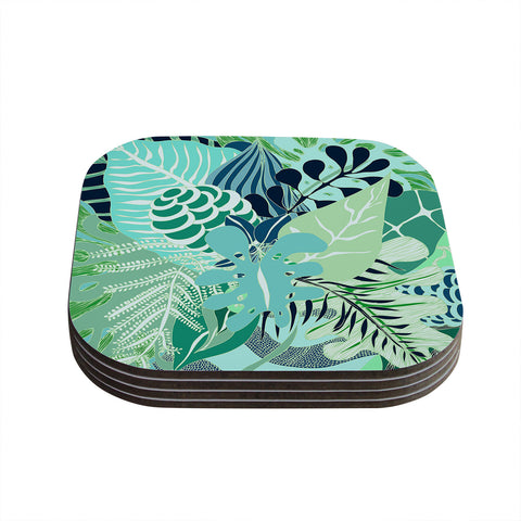 "Anchobee ""Giungla"" Green Floral Coasters (Set of 4)"
