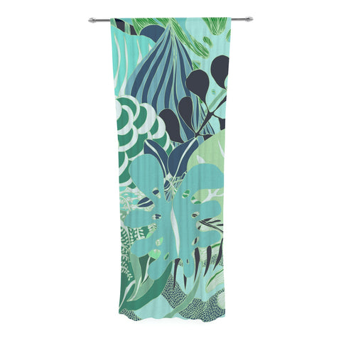 "Anchobee ""Giungla"" Green Floral Decorative Sheer Curtain - KESS InHouse  - 1"