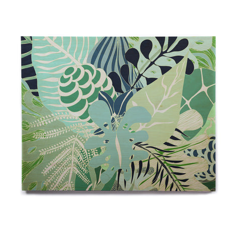 "Anchobee ""Giungla"" Green Floral Birchwood Wall Art - KESS InHouse  - 1"