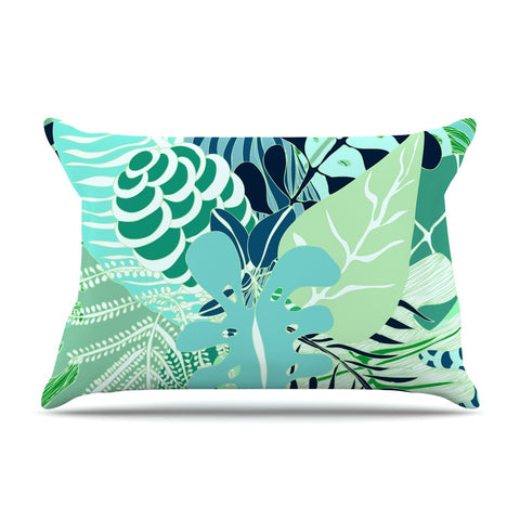 "Anchobee ""Giungla"" Green Floral Pillow Sham - KESS InHouse  - 1"