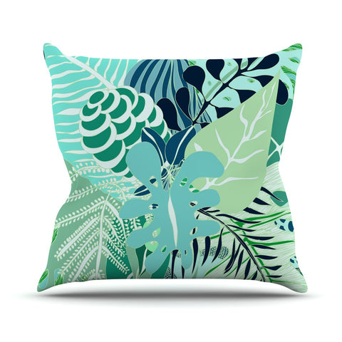 "Anchobee ""Giungla"" Green Floral Outdoor Throw Pillow - KESS InHouse  - 1"