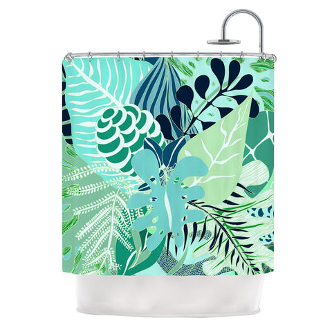 "Anchobee ""Giungla"" Green Floral Shower Curtain - KESS InHouse"