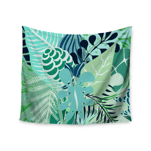 "Anchobee ""Giungla"" Green Floral Wall Tapestry - KESS InHouse  - 1"