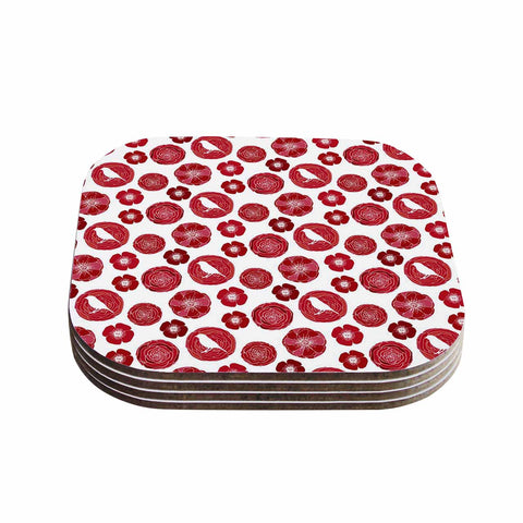 "Anchobee ""Lucrezia"" Red Pattern Coasters (Set of 4) - Outlet Item"