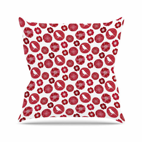 "Anchobee ""Lucrezia"" Red Pattern Outdoor Throw Pillow - KESS InHouse  - 1"