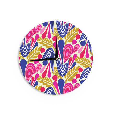 "Amy Reber ""Abstract Bouquet"" Pink Blue Wall Clock"