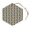 "Amy Reber ""Rainbow IKAT"" Green Abstract Hexagon Holiday Ornament"