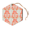"Amy Reber ""Baroque"" Orange Pattern Hexagon Holiday Ornament"