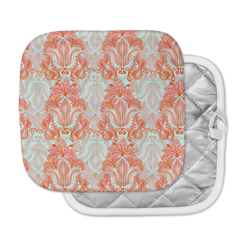 "Amy Reber ""Baroque"" Orange Pattern Pot Holder"