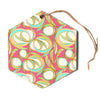 "Amy Reber ""Cirle Sings"" Pink Yellow Hexagon Holiday Ornament"