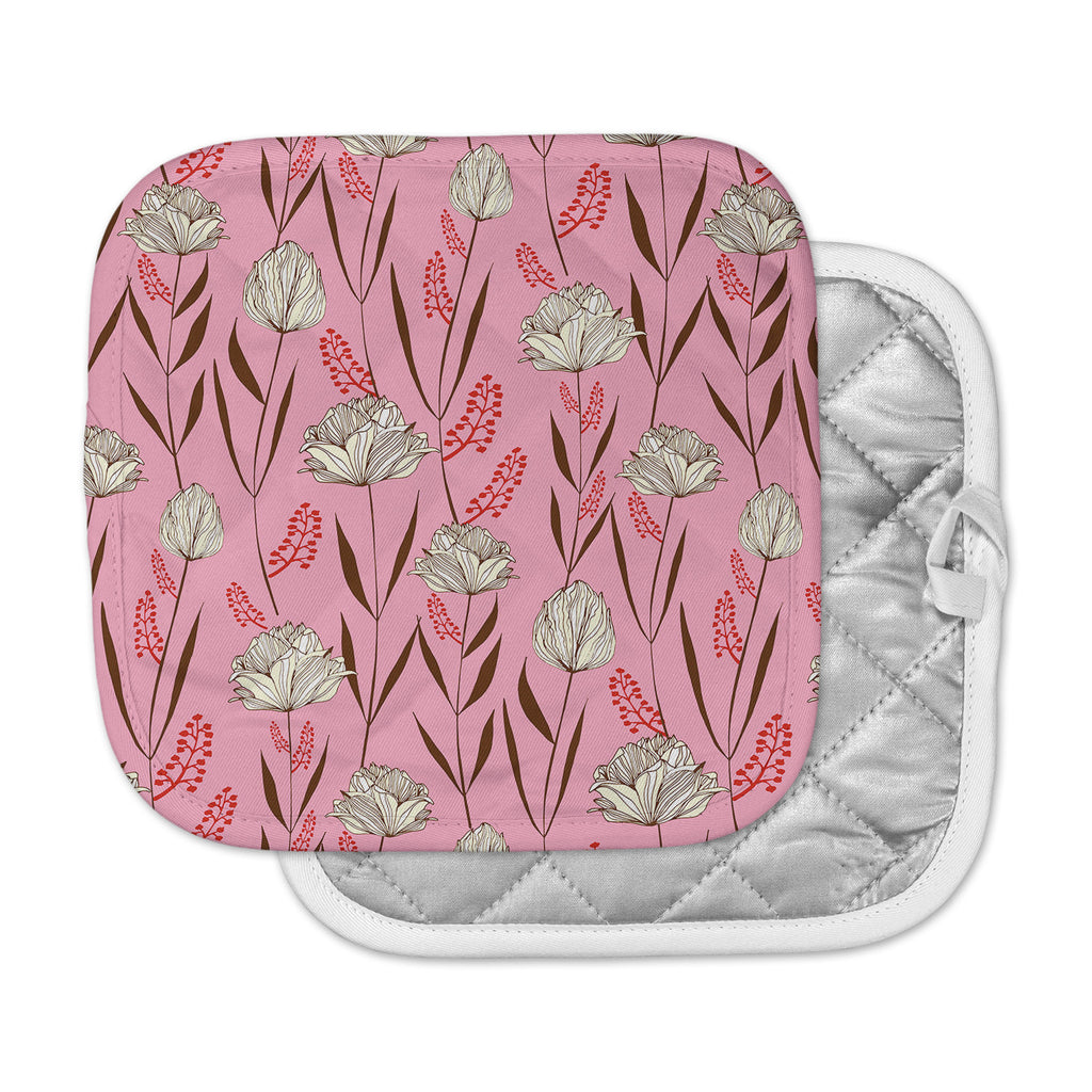 "Amy Reber ""White Floral"" Pink Pattern Pot Holder"