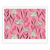 "Amy Reber ""White Floral"" Pink Pattern Fine Art Gallery Print - KESS InHouse"