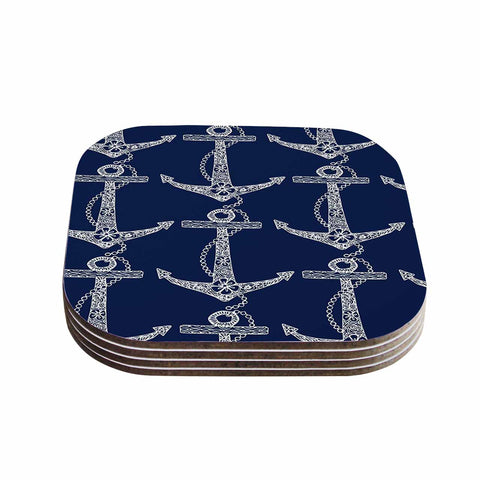 "Amy Reber ""Floral Anchors"" Blue Pattern Coasters (Set of 4) - Outlet Item"