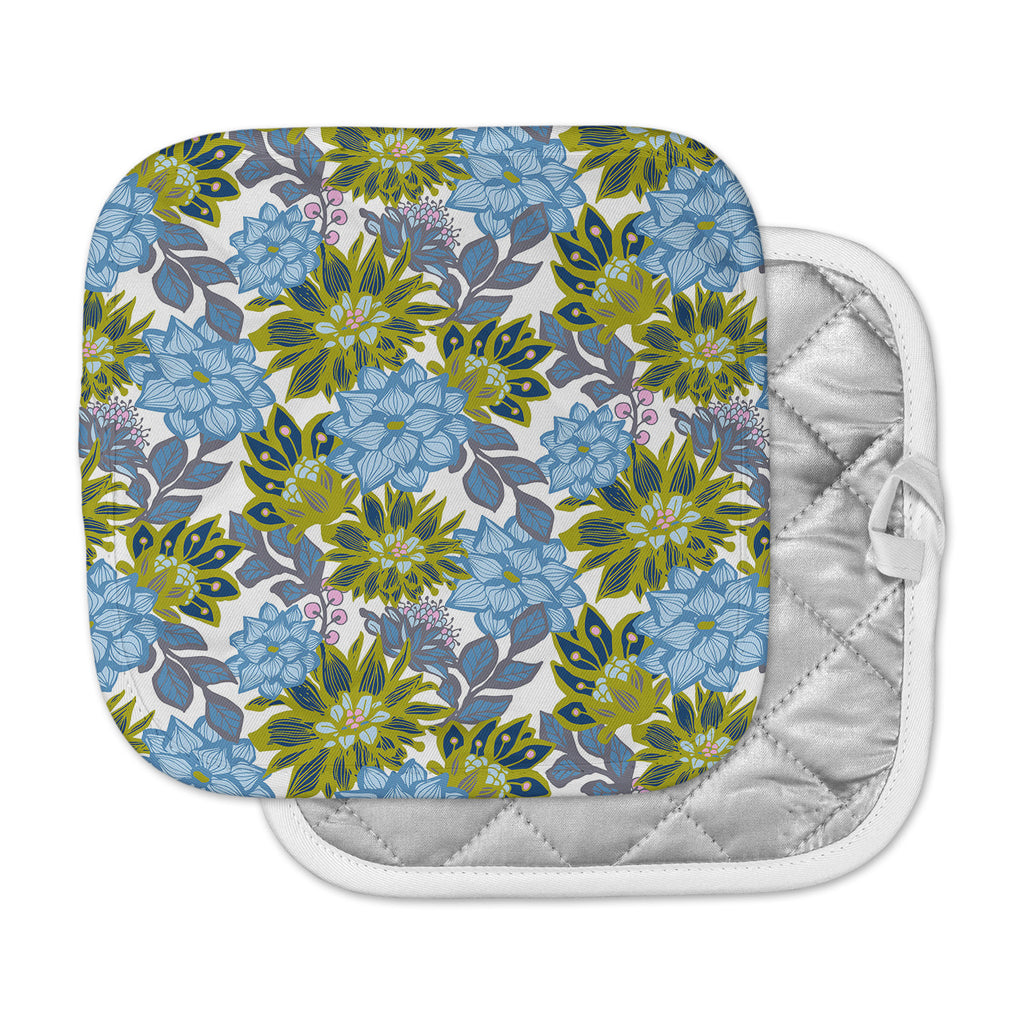 "Amy Reber ""Blue Dahlias"" Green Floral Pot Holder"