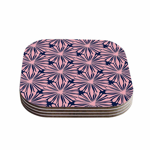"Amy Reber ""Pink Daisy"" Blue Pattern Coasters (Set of 4) - Outlet Item"