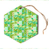 "Amy Reber ""Maze"" Green Vector Hexagon Holiday Ornament"