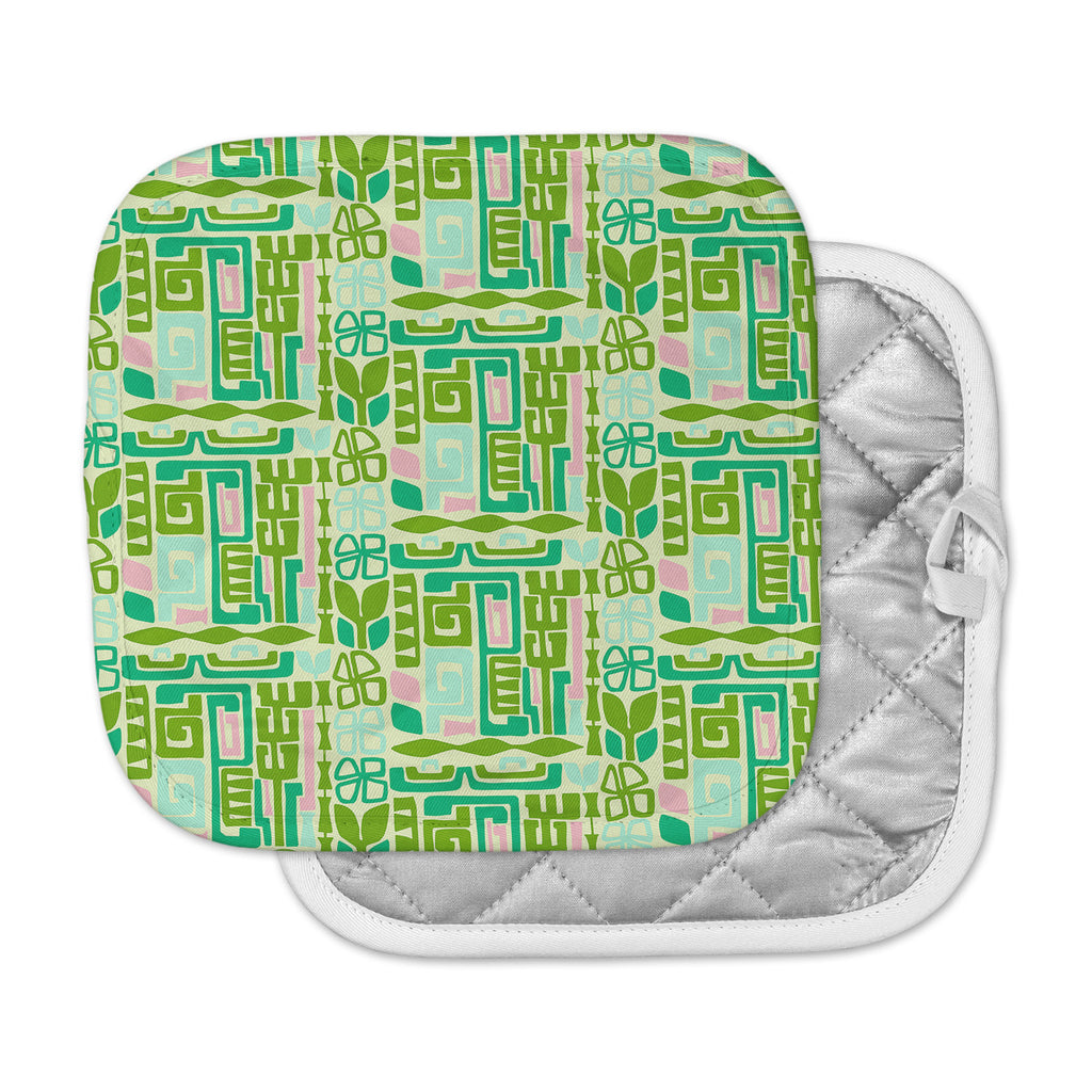 "Amy Reber ""Maze"" Green Vector Pot Holder"