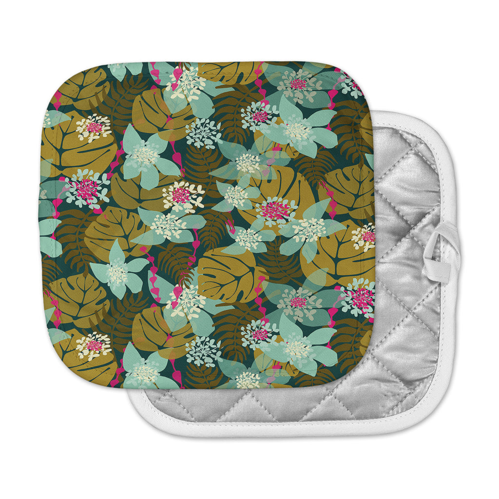 "Amy Reber ""Green Tropical"" Tropical Floral Pot Holder"
