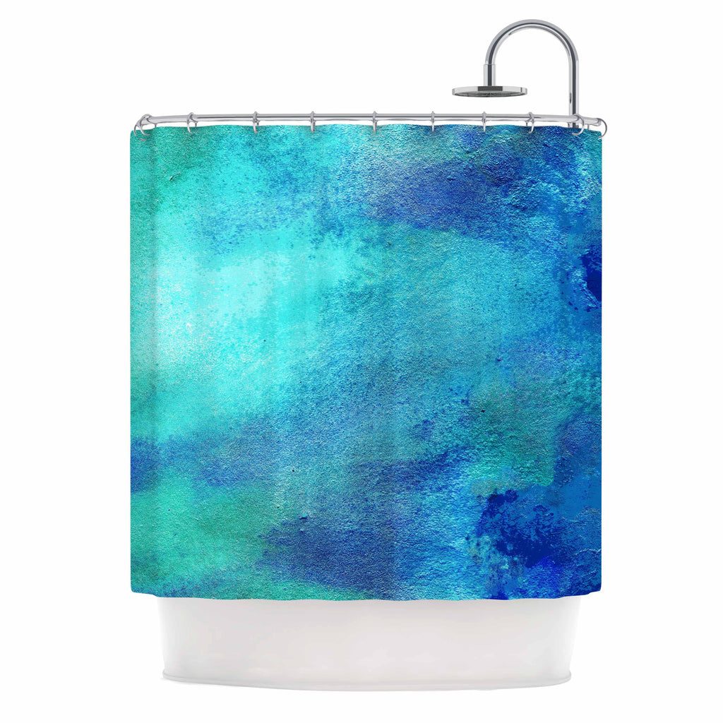 "Ashley Rice ""AC3"" Teal Watercolor Shower Curtain - Outlet Item"
