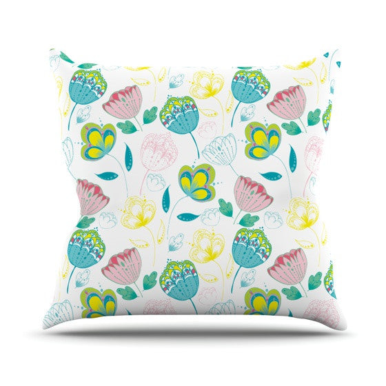 "Anneline Sophia ""Indie Floral"" Outdoor Throw Pillow - KESS InHouse  - 1"