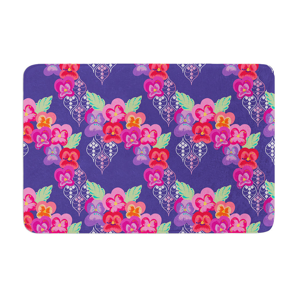 "Anneline Sophia ""Beautifully Boho"" Purple Memory Foam Bath Mat - KESS InHouse"