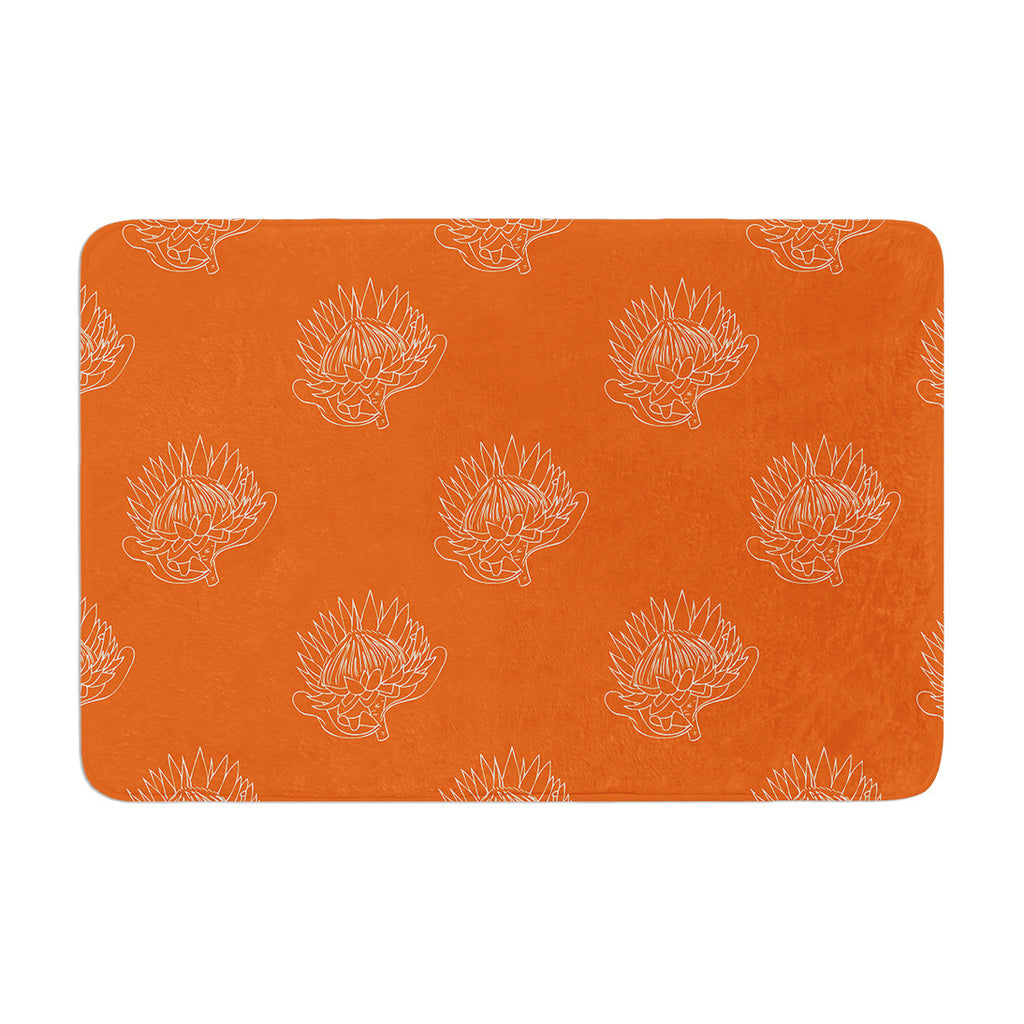 "Anneline Sophia ""Simpley Protea"" Orange Memory Foam Bath Mat - KESS InHouse"