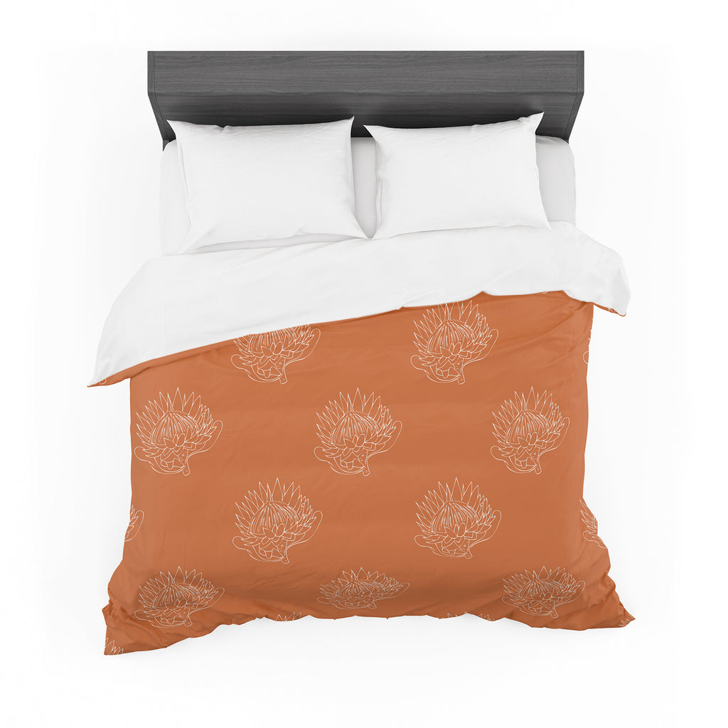 "Anneline Sophia ""Simpley Protea"" Orange Featherweight Duvet Cover"