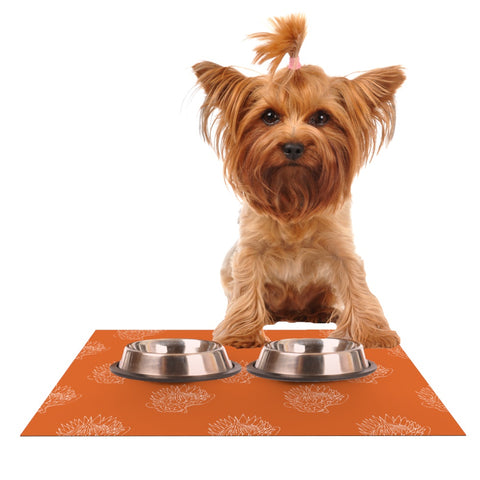 "Anneline Sophia ""Simply Protea"" Orange Dog Place Mat - Outlet Item"