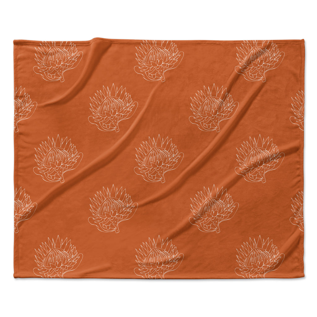 "Anneline Sophia ""Simpley Protea"" Orange Fleece Throw Blanket"