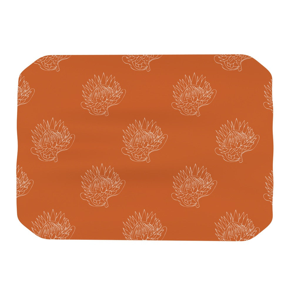 "Anneline Sophia ""Simpley Protea"" Orange Place Mat - KESS InHouse"