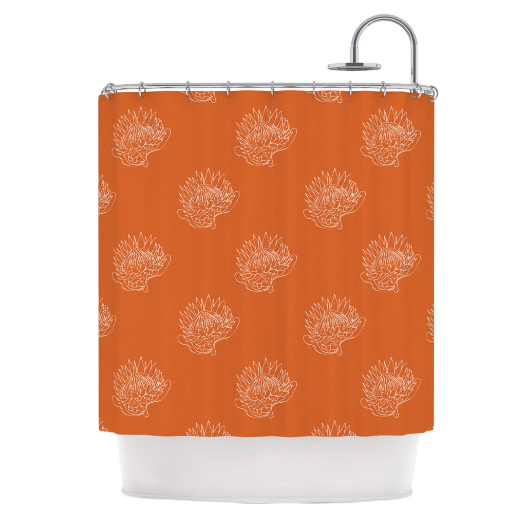 "Anneline Sophia ""Simpley Protea"" Orange Shower Curtain - KESS InHouse"