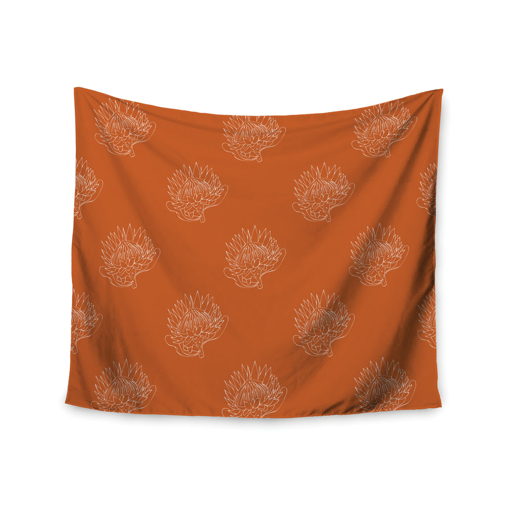 "Anneline Sophia ""Simpley Protea"" Orange Wall Tapestry - KESS InHouse  - 1"