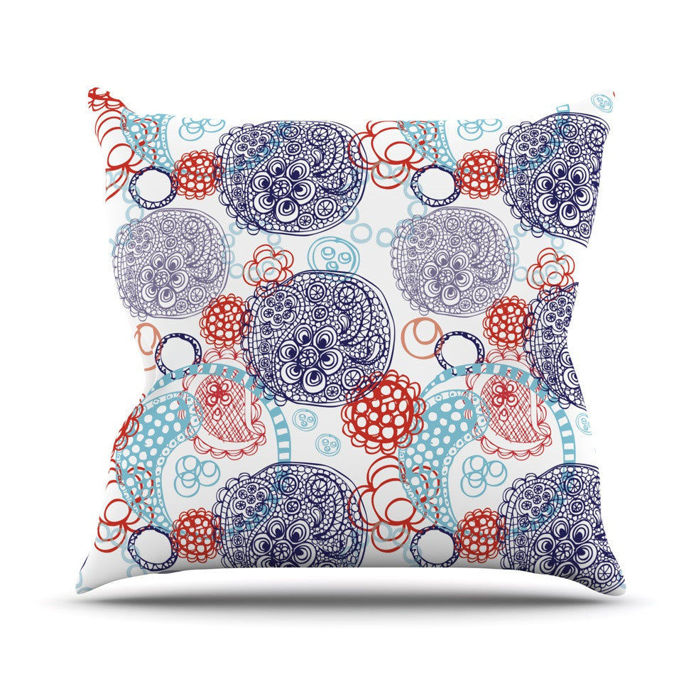 "Anneline Sophia ""Lacy Ying Yang"" Blue Outdoor Throw Pillow - KESS InHouse  - 1"