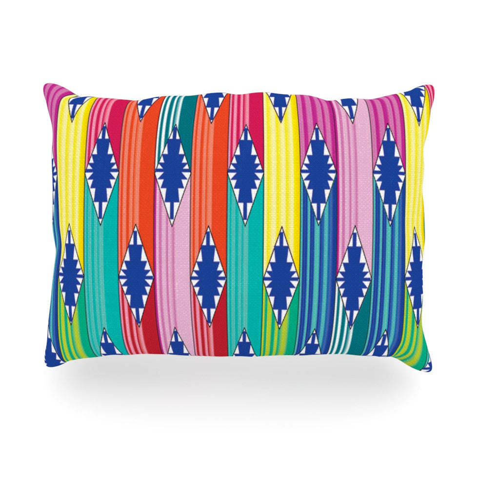 "Anneline Sophia ""Blanket"" Rainbow Tribal Oblong Pillow - KESS InHouse"