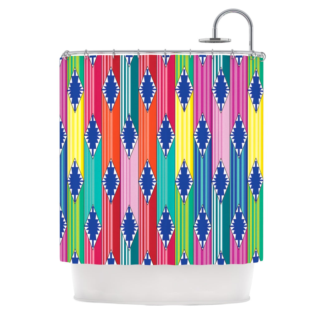 Anneline Sophia Blanket Rainbow Tribal Shower Curtain