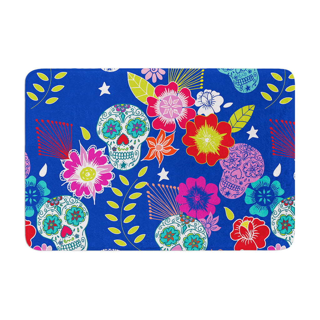 "Anneline Sophia ""Day of the Dead"" Blue Aztec Memory Foam Bath Mat - KESS InHouse"