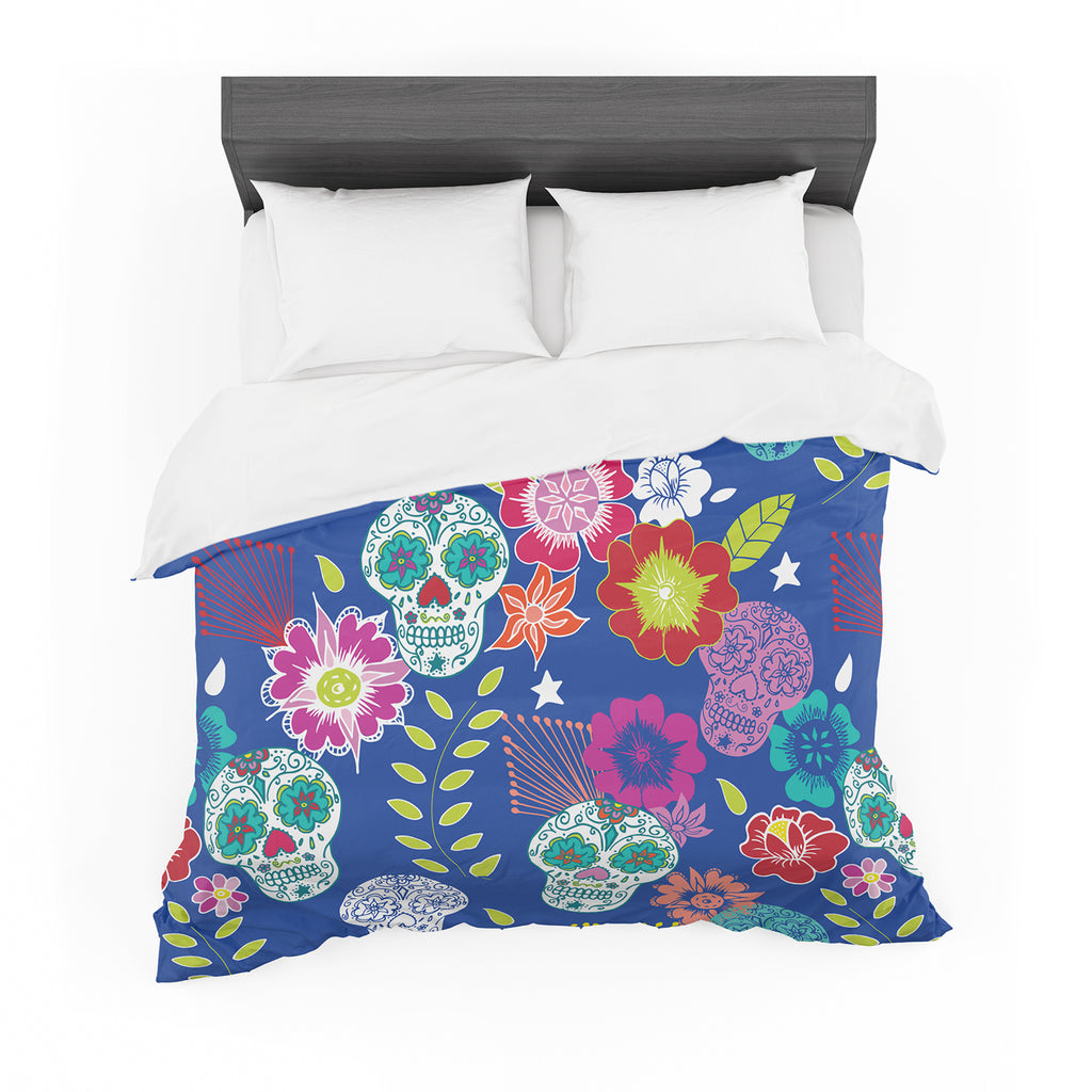 "Anneline Sophia ""Day of the Dead"" Blue Aztec Featherweight Duvet Cover"