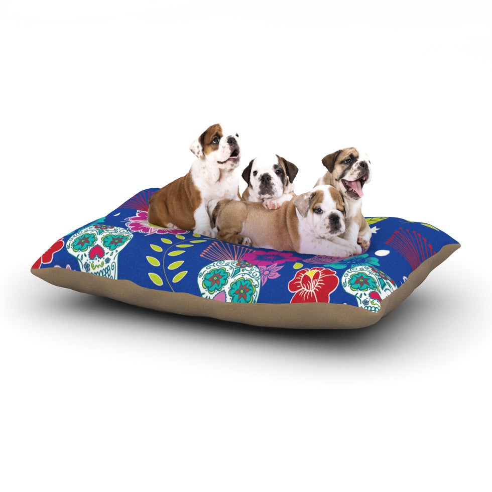 "Anneline Sophia ""Day of the Dead"" Blue Aztec Dog Bed - KESS InHouse  - 1"