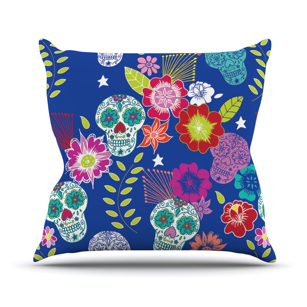 "Anneline Sophia ""Day of the Dead"" Blue Aztec Outdoor Throw Pillow - KESS InHouse  - 1"