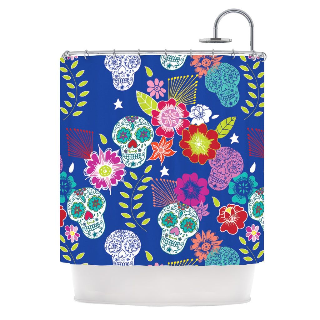 "Anneline Sophia ""Day of the Dead"" Blue Aztec Shower Curtain - KESS InHouse"