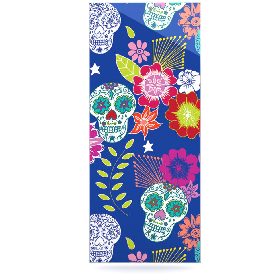 "Anneline Sophia ""Day of the Dead"" Blue Aztec Luxe Rectangle Panel - KESS InHouse  - 1"