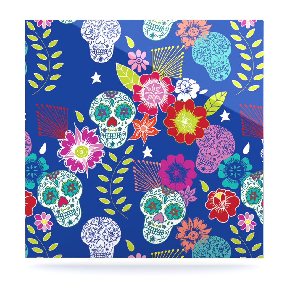 "Anneline Sophia ""Day of the Dead"" Blue Aztec Luxe Square Panel - KESS InHouse  - 1"