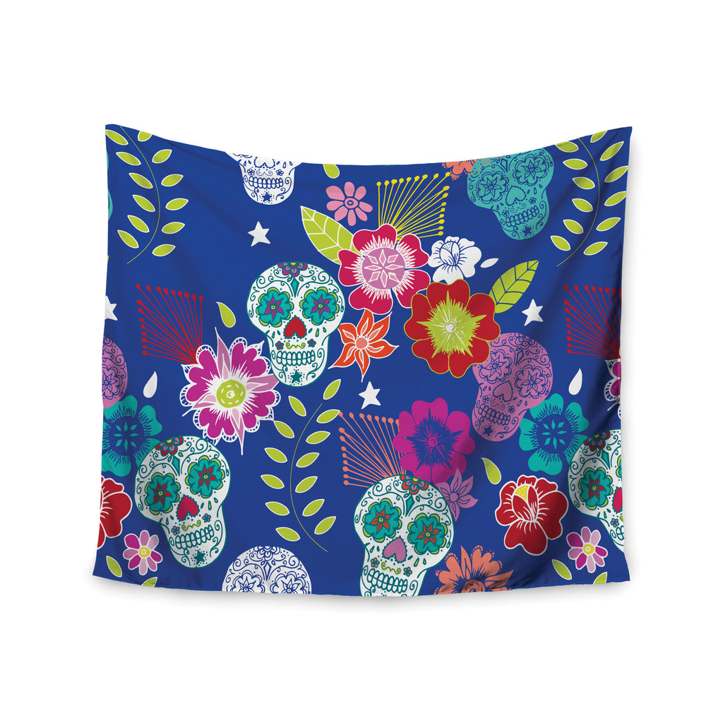 "Anneline Sophia ""Day of the Dead"" Blue Aztec Wall Tapestry - KESS InHouse  - 1"