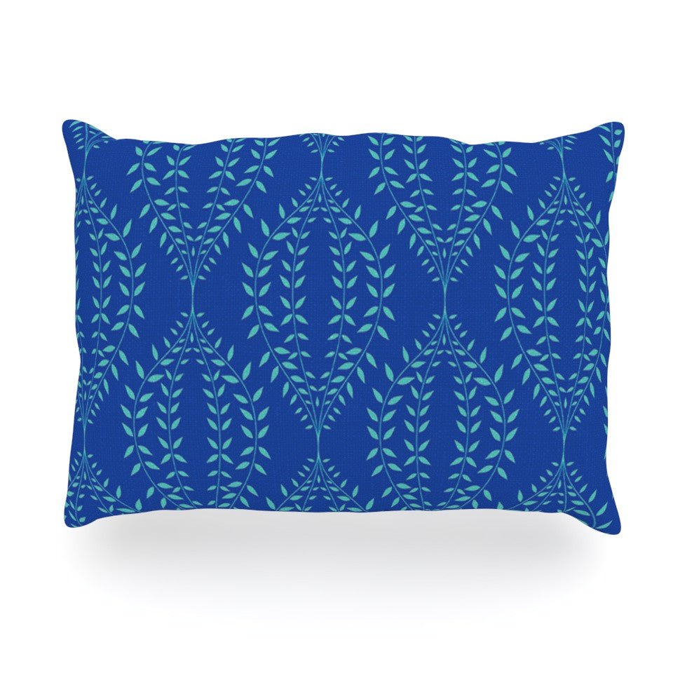"Anneline Sophia ""Laurel Leaf Blue"" Navy Floral Oblong Pillow - KESS InHouse"