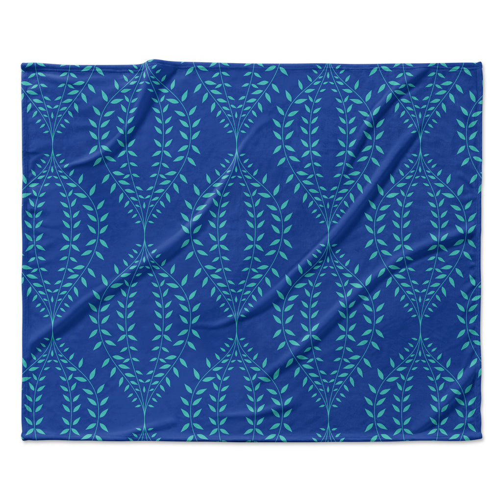 "Anneline Sophia ""Laurel Leaf Blue"" Navy Floral Fleece Throw Blanket"