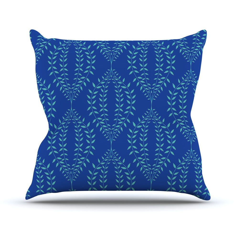 "Anneline Sophia ""Laurel Leaf Blue"" Navy Floral Throw Pillow - KESS InHouse  - 1"