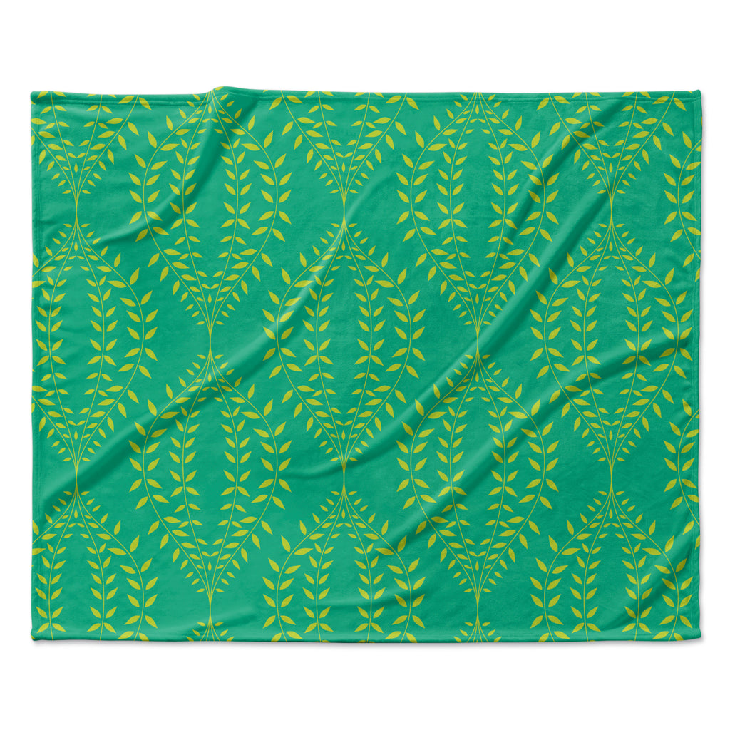 "Anneline Sophia ""Laurel Leaf Green"" Teal Floral Fleece Throw Blanket"