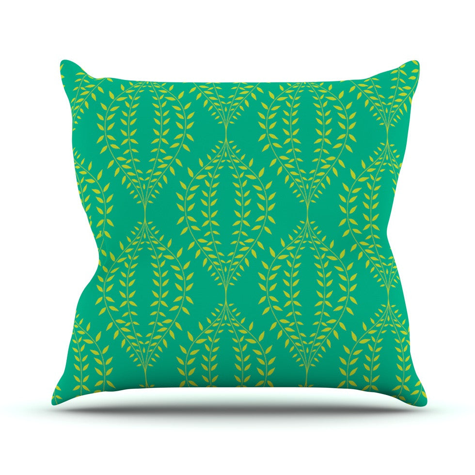 "Anneline Sophia ""Laurel Leaf Green"" Teal Floral Outdoor Throw Pillow - KESS InHouse  - 1"