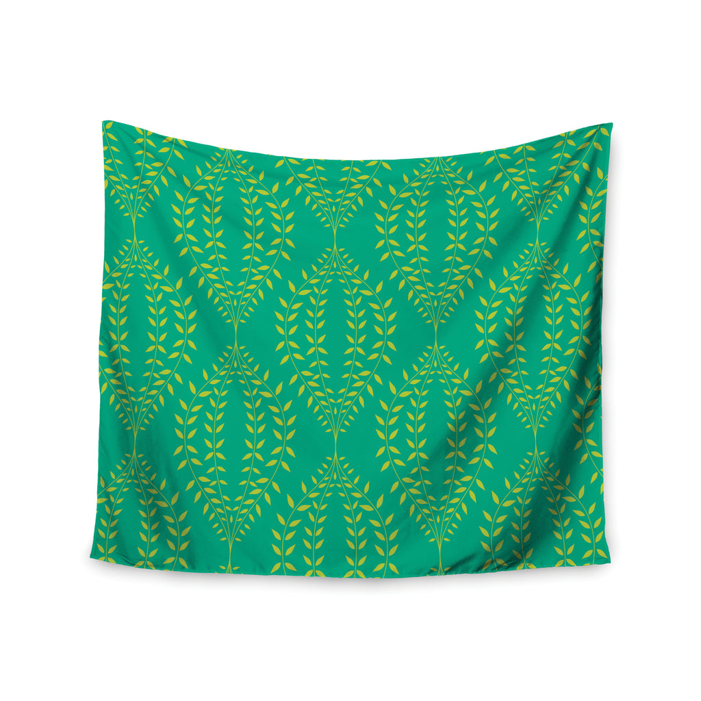 "Anneline Sophia ""Laurel Leaf Green"" Teal Floral Wall Tapestry - KESS InHouse  - 1"