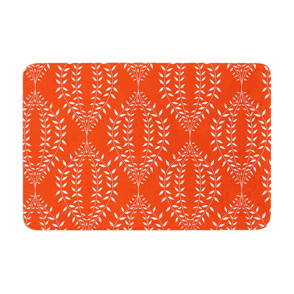 "Anneline Sophia ""Laurel Leaf Orange"" Red Floral Memory Foam Bath Mat - KESS InHouse"